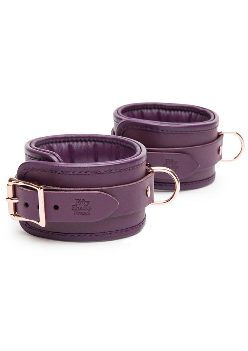 Fifty Shades Freed Cherished Collection Leather Ankle Cuffs Purple With Gold Color Chain